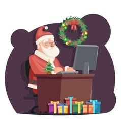Office santa claus sit computer work table vector