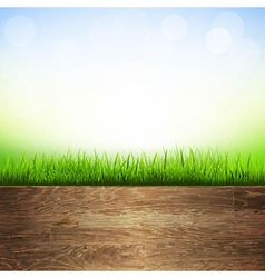 Wooden Background With Grass Border vector image vector image