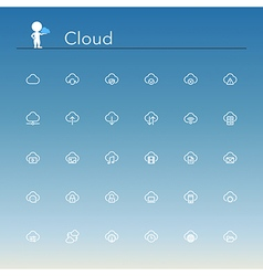 Cloud Line Icons vector image vector image