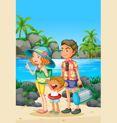 family trip with parents and kid on the beach vector image