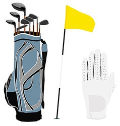 Golf clubs bag flag and white glove vector image vector image