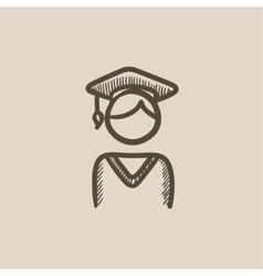 Graduate sketch icon vector image vector image