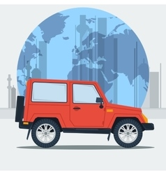 jeep car on town background vector image vector image