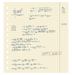 Sheet of notebook with maths lecture vector image