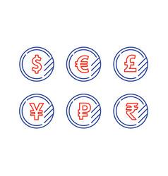 dollar sign euro symbol pound icon ruble coin vector image