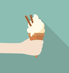Hand with ice cream cone vector