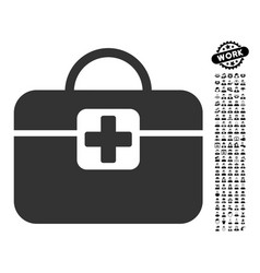 medical kit icon with work bonus vector image vector image