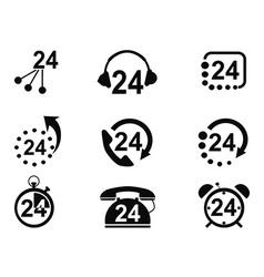 24-hrs service icons vector image vector image
