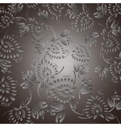 Black background with silver flowers and leaves vector image