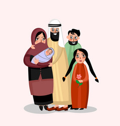 happy muslim family vector image