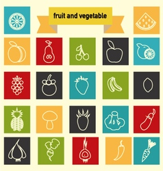 icon set with Healthy Food Vegetables and fruits vector image vector image