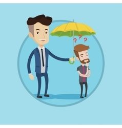 Insurance agent holding umbrella over young man vector image