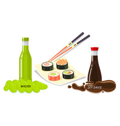 sauces for sushi flat style concept vector image vector image