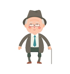 Senior Man in Suit with Walking Stick vector image