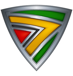 steel shield with flag guyana vector image vector image