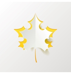 Abstract Yellow Maple Leaf Isolated on White vector image