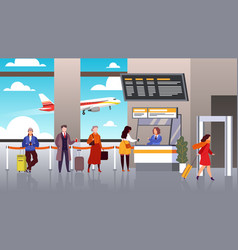 airport registration people queue departure vector image