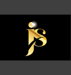 Alphabet letter js j s gold golden metal metallic vector