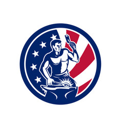 american farrier usa flag icon vector image