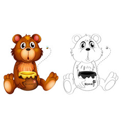 Animal outline for bear with honey vector