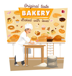 Baker knead dough at bakery kitchen vector