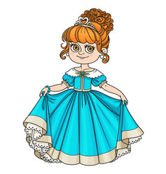 Beautiful little princess curtsies isolated on vector