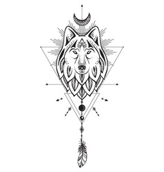 Black and white wolf moon vector