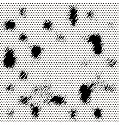 black halftone background with ink blobs vector image