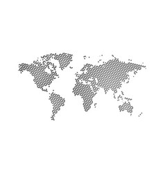black halftone triangle dotted world map dotted vector image