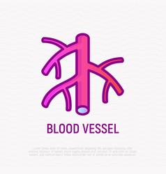 Blood vessel thin line icon modern vector