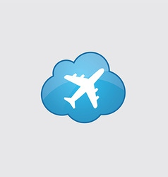 Blue cloud airplane icon vector image