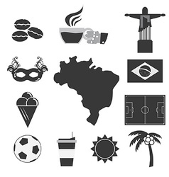 Brazil Tourist Attraction Icons Set vector image
