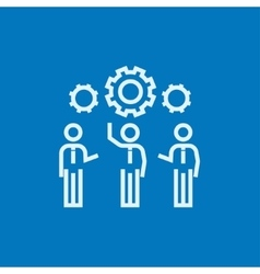 Businessmen under the gears line icon vector image