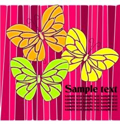 Butterflies in pink green yellow and orange vector image