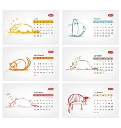 Calendar 2012 july Funny cats design vector