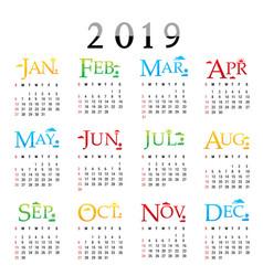 Calendar planner happy new year 2019 vector