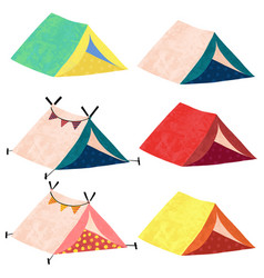 camping teepee tents icon set vector image