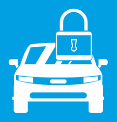 car with padlock icon white vector image