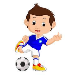 Cartoon boy playing football vector