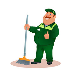 Cartoon cleaner in uniform from janitorial service vector