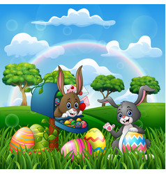 cartoon happy easter with bunnies on the nature vector image