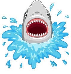 cartoon shark with open jaws isolated vector image