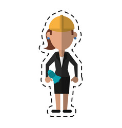 Cartoon woman with megaphone work helmet vector