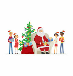 children and santa claus - cartoon characters vector image