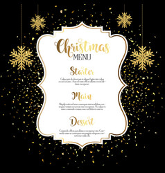 christmas menu design with gold confetti vector image