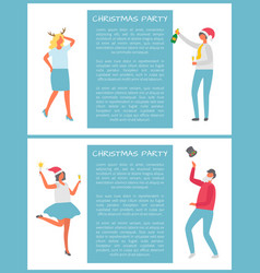 christmas party people celebrating new year event vector image
