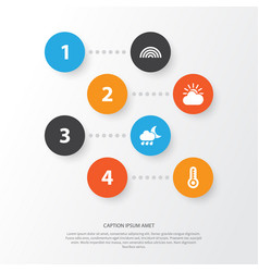Climate icons set collection of nightly sun vector