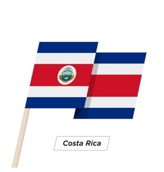 Costa Rica Ribbon Waving Flag Isolated on White vector image