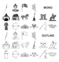 Country mongolia monochrom icons in set collection vector