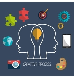 Creative process design with colorful icons vector image